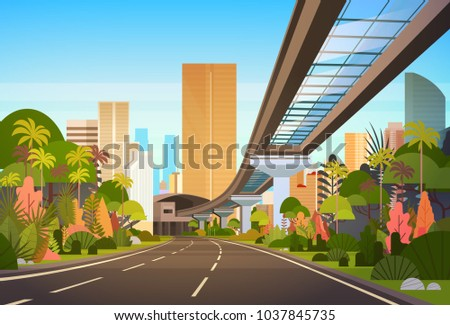 highway road to city skyline