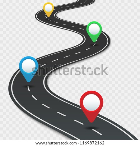 Highway roadmap with pins. Car road direction, gps route pin road trip navigation and asphalt roads business way direction infographic, marker transportation vector illustration