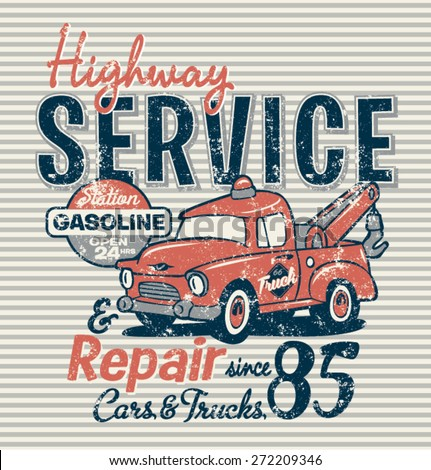 highway service station  vector ...