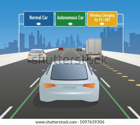 highway sign illustration, autonomous car lane, normal car lane, wireless charging lane