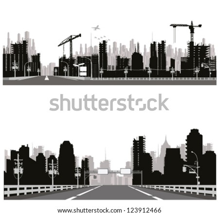 Highway silhouette .City skyline