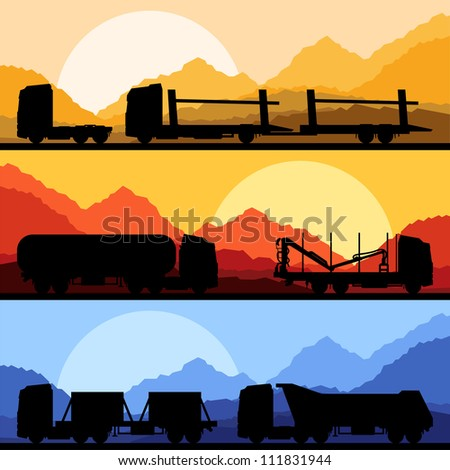 Highway truck wild nature landscape background illustration collection background vector