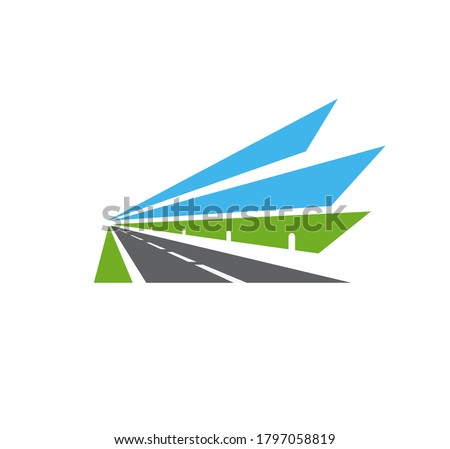 Highway vector icon, road, isolated pathway with safety barrier, green field and blue sky. Speedway bordered with fencing receding into the distance towards vanishing point. Driveway for transport