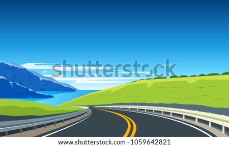 highway with mountains and blue