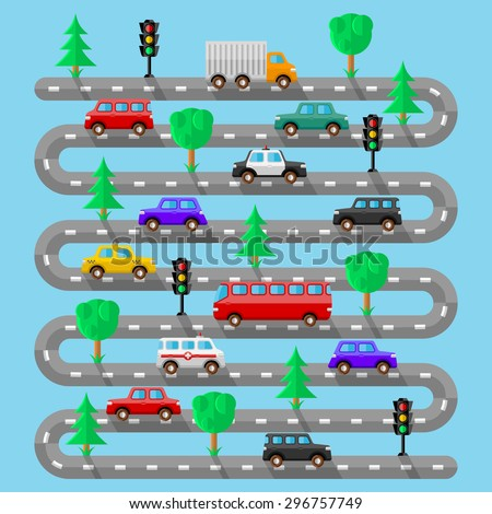 Highway with vehicles. Flat design. Vector illustration.  #296757749
