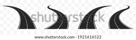 Highways meandering in different directions set. Black coil line asphalt with white dotted line difficulties of life path with constantly changing events vector priorities. Foto stock ©
