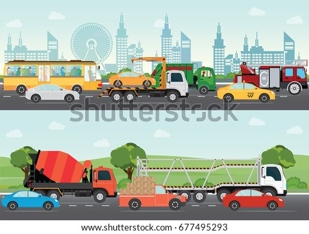 Highways road with many different vehicles with traffic traveling passing through the city and green landscape, transportation design elements vector illustration.