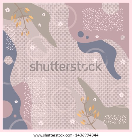 Hijab design with floral abstract style. Silk scraf pattern