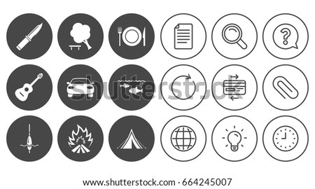 Shutterstock Hike trip, camping icons. Fishing, campfire and tourist tent signs. Guitar music, knife and food symbols. Document, Globe and Clock line signs. Lamp, Magnifier and Paper clip icons. Vector