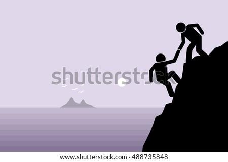 hiker helping a friend climbing