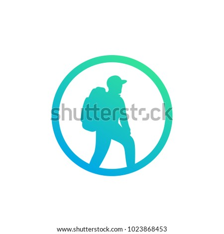 Hiker icon, backpacking, hiking vector