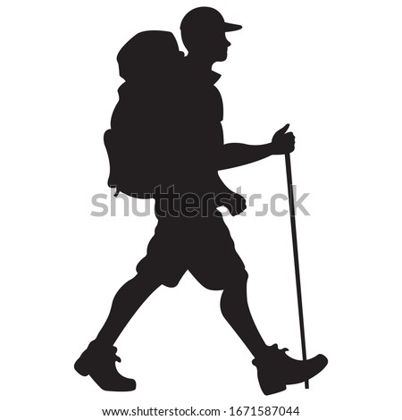 hiker man with a backpack in a