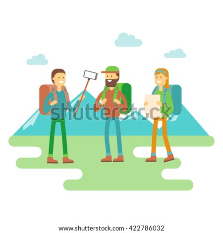 Hiker, travel mountaineer flat illustration. Three tourists with backpacks and map standing and trying to make a self portrait using selfie stick. Male and Female Cartoon Characters.