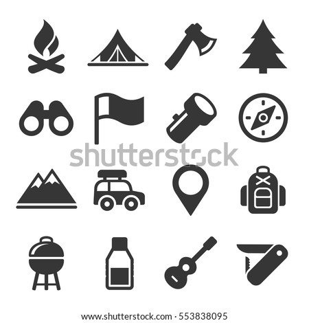 Hiking and Camping Icons Set. Vector