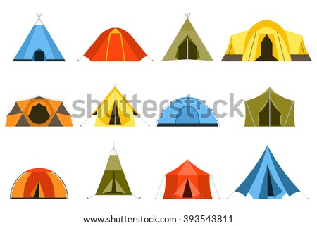 Hiking and camping tent vector icons. Triangle and dome flat design tents collection in green, blue, yellow and orange colors. Tourist camp tents set isolated on white background.