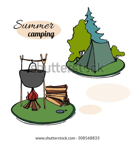 Hiking and outdoor recreation concept with camping travel. vector illustration