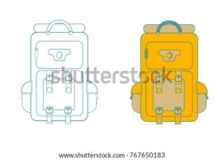 Hiking backpack set in thin line design. Tourist retro backpacks outline vector illustration. Colorful camping backpack set in flat design.