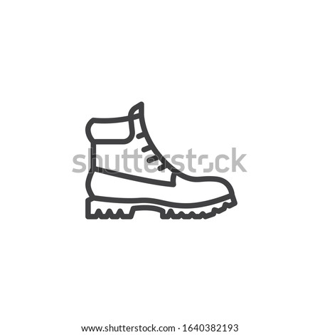 Hiking boot line icon. linear style sign for mobile concept and web design. Mens boots shoe outline vector icon. Symbol, logo illustration. Vector graphics Foto stock ©