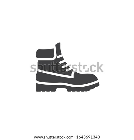 Hiking boot vector icon. filled flat sign for mobile concept and web design. Mens boots shoe glyph icon. Symbol, logo illustration. Vector graphics Foto stock ©