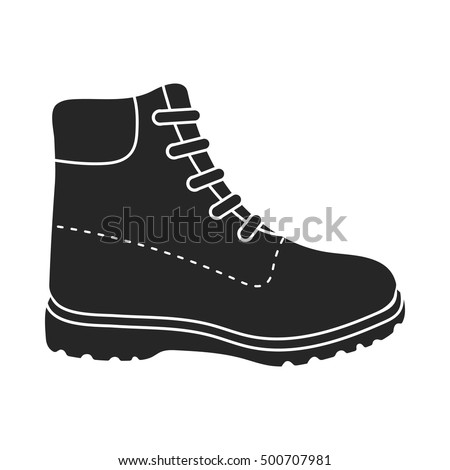 Hiking boots icon in  black style isolated on white background. Shoes symbol stock vector illustration.