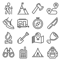 Hiking, Camping and Recreation Icons Set. Vector