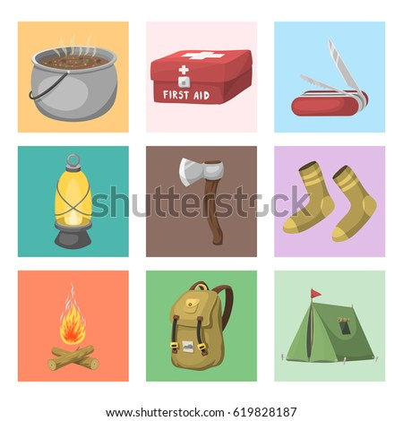 Hiking Camping Equipment Base Camp Gear And Accessories Outdoor Cartoon Travel Vector Illustration