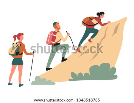 Hiking climbing cliff man and women hikers or backpackers vector outdoor activity mountain rock walking backpack or rucksack wild nature sport family expedition and exploration active lifestyle Stock photo ©