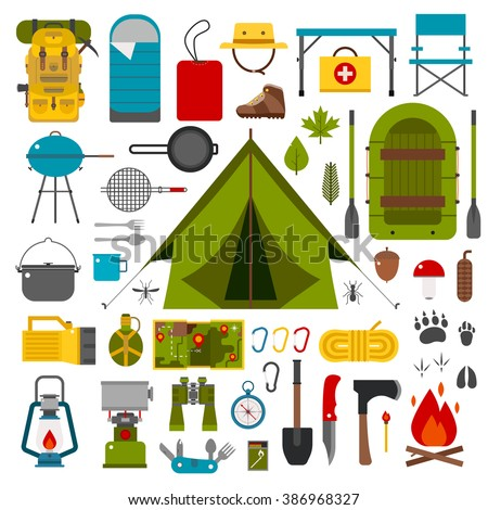 Hiking icons set. Camping equipment vector collection. Binoculars, bowl, barbecue, boat, lantern, shoes, hat, tent, campfire. Base camp gear and accessories. Camping icon set. Hike outdoor elements.