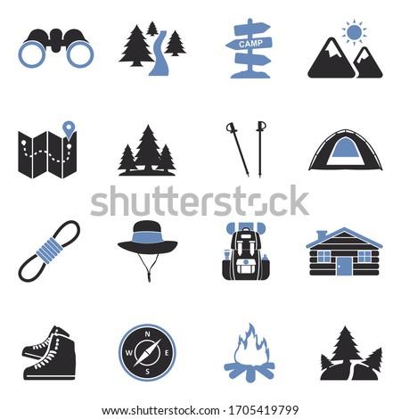 hiking icons two tone flat