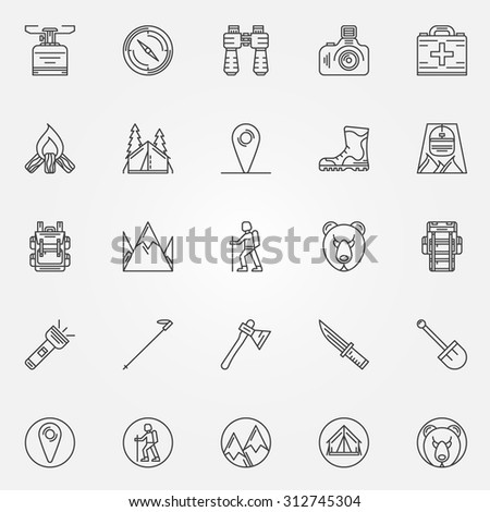 Hiking icons - vector set of camping symbols or logo elements in thin line style. Recreation signs
