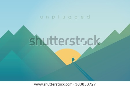 hiking in mountains during
