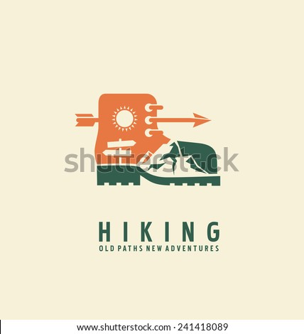 Hiking logo design template. Adventure symbol vector concept. Boot with landscape in negative space. Unique icon idea for recreation theme.
