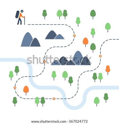 hiking map  sport orienteering