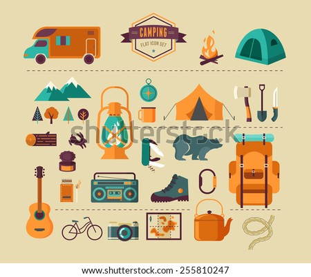 Hiking mountain climbing and camping equipment icon set and infographics