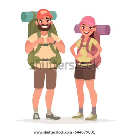 Hiking tourist couple. Man and Woman with large backpacks in the white background . Vector illustration in cartoon style