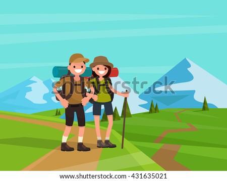 hiking tourists on a background