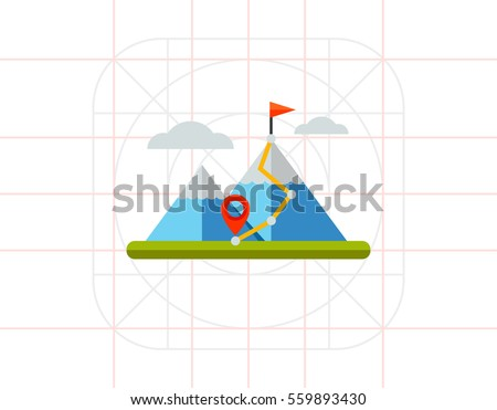 hiking trail in mountains icon