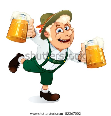 Hilarious Drunk Guy with mugs of beer at hands on a Oktoberfest festival, vector illustration