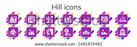 hill icon set 14 filled hill