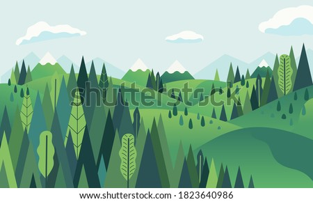 hill landscape with mountainous