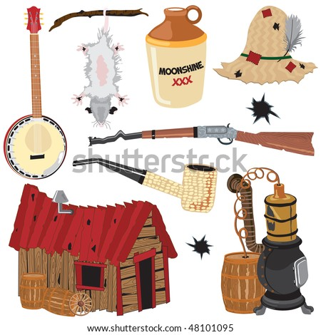 Hillbilly clipart icons and elements, isolated on white