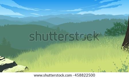 hills landscape flat color