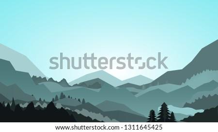 hills landscape flat vector