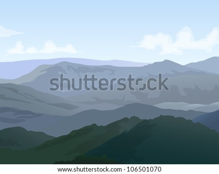 hills landscape with cloudy