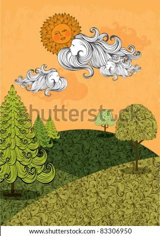 hills sunset vector illustration