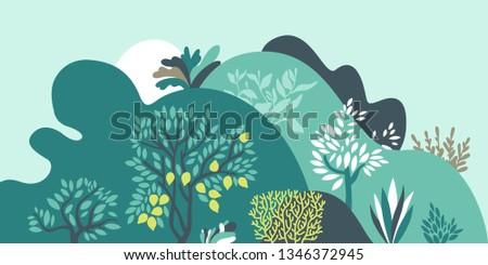 Hilly landscape with trees, bushes and plants. Growing plants and gardening. Protection and preservation of the environment. Vector illustration.