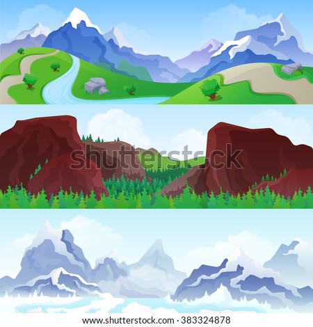 hilly mountains landscape in