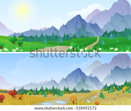 Hilly mountains Landscape in Seasons: summer, autumn. Floral background changing seasons set 03