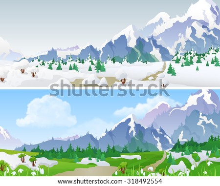 Hilly mountains Landscape in Seasons: winter, spring. Floral background changing seasons set 04