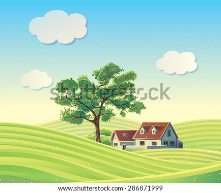 hilly rural landscape with